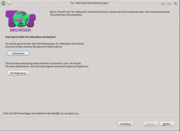 Tor Browser: Startbildschirm