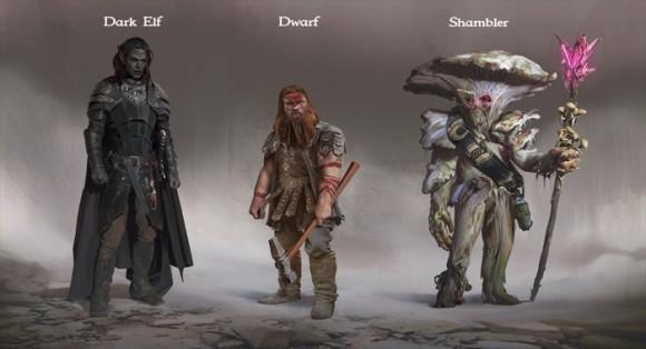 Underworld Ascendants: Dunkelelf, Zwerg, Shambler (Quelle: kickstarter.com)