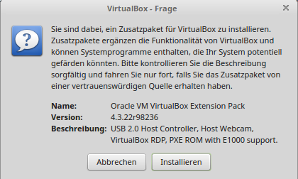 Extension Pack installieren