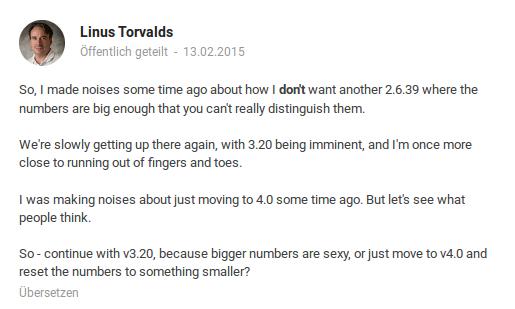 Nach der Umfrage ist es Linux Kernel 4.0