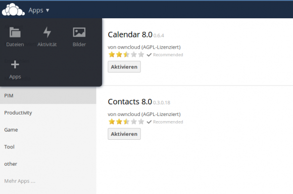ownCloud 8 Server: Apps aktivieren