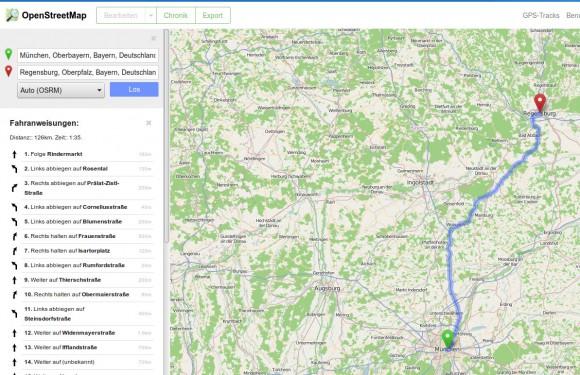 OpenStreetMap Routenplaner von München nach Regensburg