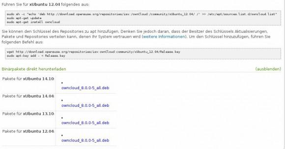 ownCloud Upgrade nun auch via Repositories möglich
