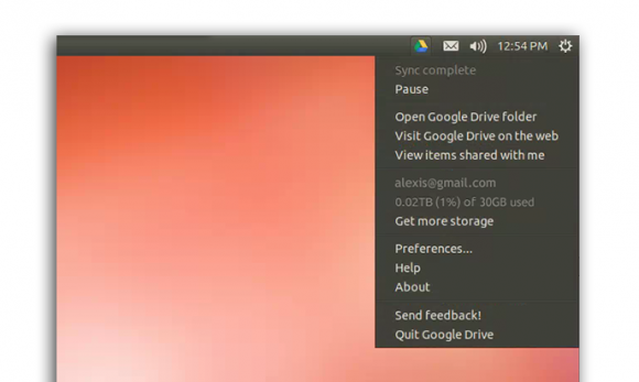 Google Drive für Linux: Taskleiste