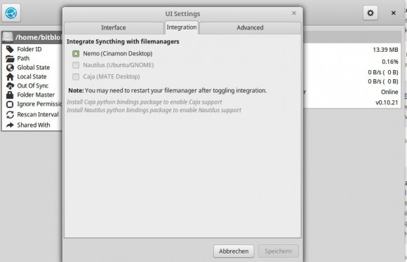 Syncthing GTK: Nemo ist mein Dateimanager unter Linux Mint 17.1