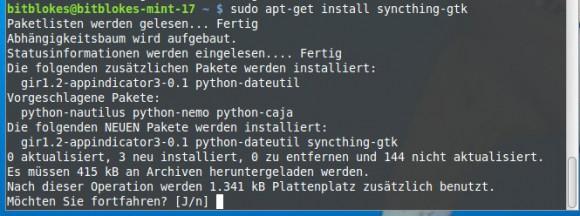 Syncthing GTK installieren