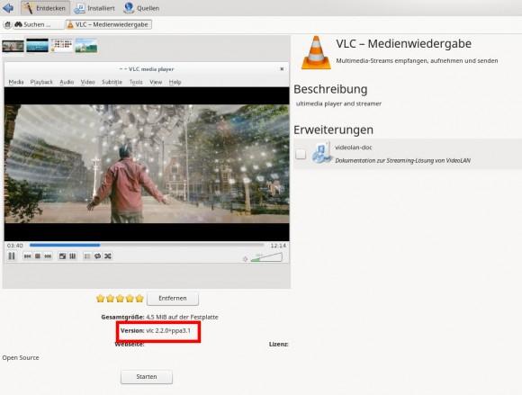 VLC 2.2: Nach Hinzufügen des PPA in Muon verfügbar