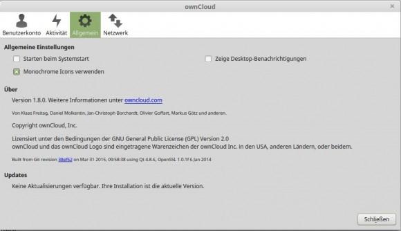 ownCloud Client 1.8.0 benimmt sich sehr schlecht