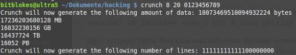 crunch: Passwort kann zwischen acht und 20 Zahlen haben