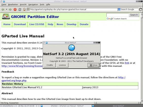 GParted Live 0.22: Netsurf
