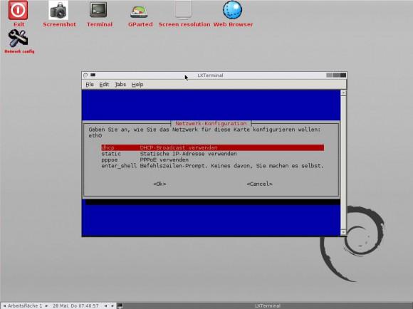 GParted Live 0.22: Netzwerk konfigurieren