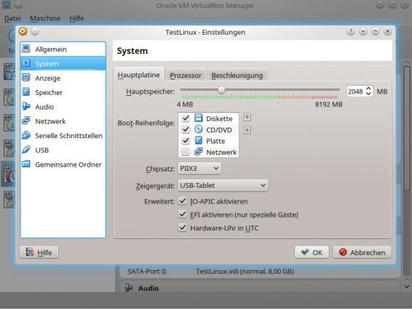 VirtualBox: EFI aktivieren