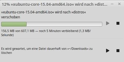 Linux Mint 17.2 enthält Cinnamon 2.6 und Nemo hat eine Warteschlange