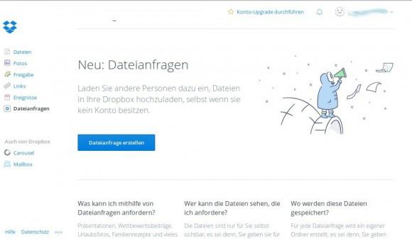 Dropbox mit neuer Funktion: Dateianfragen