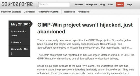 Nein, Sourceforge: GIMP für WIndows gibt es weiterhin!