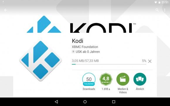 Kodi via Google Play Store verfügbar
