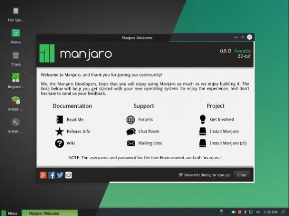 Manjaro 0.8.13 (Quelle: manjaro.github.io)