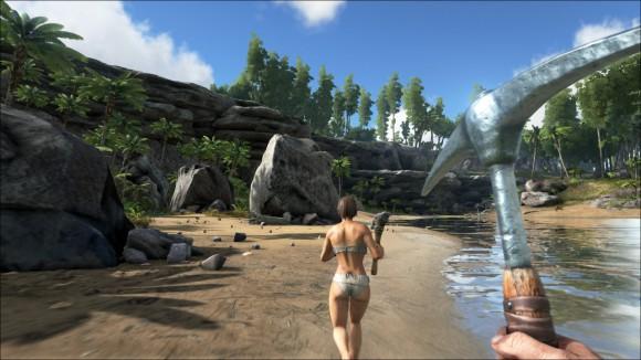 ARK: Survival Evolved - warum rennt der mit einem Hackebeil einer halbnackten Frau hinterher? (Quelle: store.steampowered.com)
