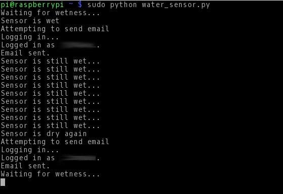 Skript für den Wassersensor in Aktion