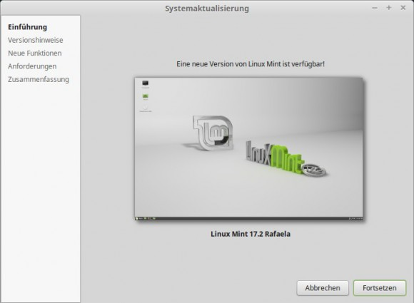 Das Upgrade auf Linux Mint 17.2 Rafaela kann beginnen