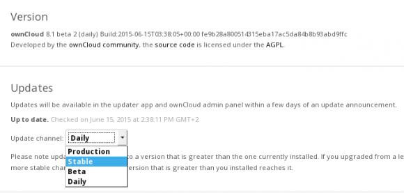 Ab ownCloud Server 8.1 gibt es Release Channels (Quelle: owncloud.org)