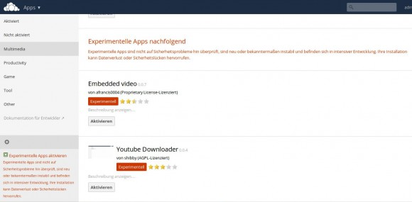 ownCloud 81.: Experimentelle Apps