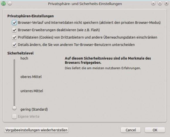 Tor Browser 5.0a3: Sicherheitslevel einstellen