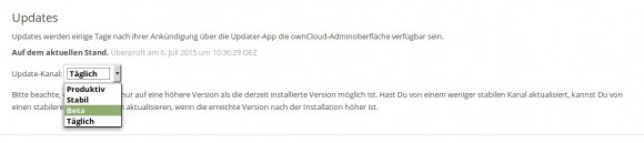 Ab ownCloud 8.1 gibt es Release Channels