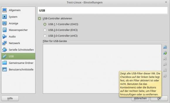 VirtualBox 5.0: USB-Geschwindigkeit für die virtuelle Maschine wählen