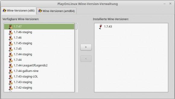 Wine 1.7.47 gibt es auch via PlayOnLinux