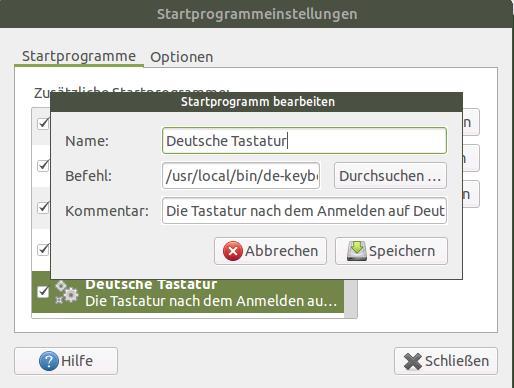 Deutsche Tastatur via AUtostart