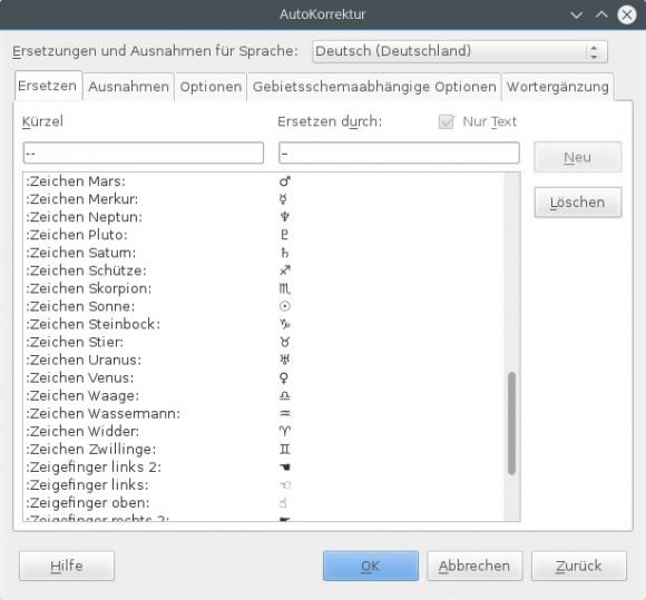 LibreOffice 5.0: AutoKorrektur