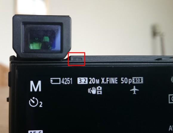 Der Sensor, der zwischen Sucher und Bidlschirm umschaltet