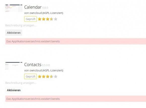 ownCloud 8.2 Server: Anwendungsverzeichnisse existieren bereits