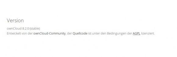 ownCloud 8.2 Server läuft