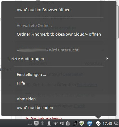 ownCloud-Symbol ist anders integriert