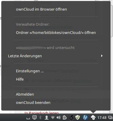 Cinnamon 2.8: ownCloud-Symbol ist anders integriert