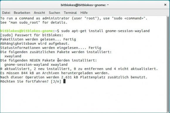 Ubuntu GNOME 15.10: Wayland Session installieren