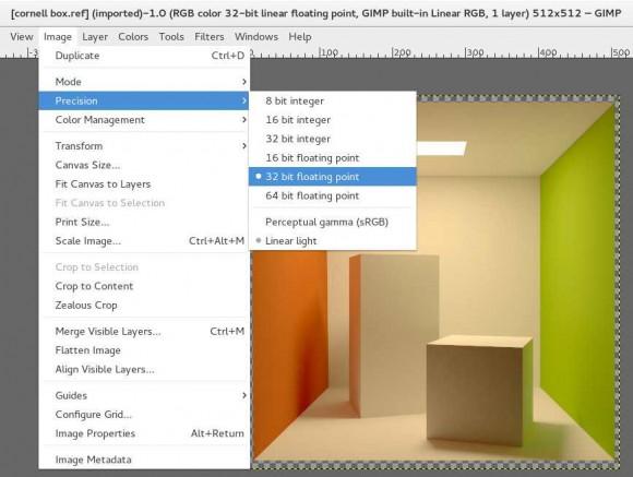 GIMP 2.9.2 mit 16 oder 32 Bit pro Farbkanal (Quelle: gimp.org)