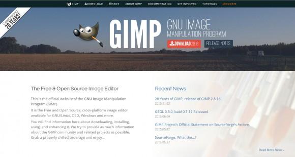 GIMP mit neuer Website