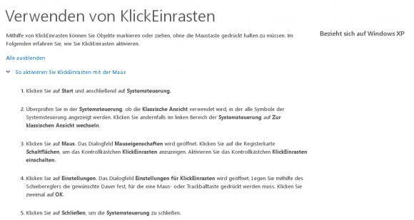 Unter Windows gibt es die Funktion KlickEinrasten schon länger