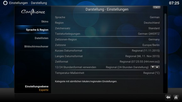 Kodi -> Sprache & Region