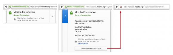 Anwender können über das Symbol den Schutz vor Mixed Content deaktivieren (Quelle: mozilla.org)