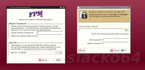 Puppy Linux 6.3 Slacko64: Figaro's Password Manager 2 und Bcrypt