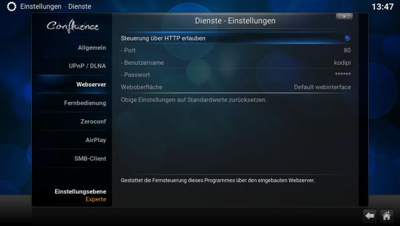 Steuerung über HTTP aktivieren