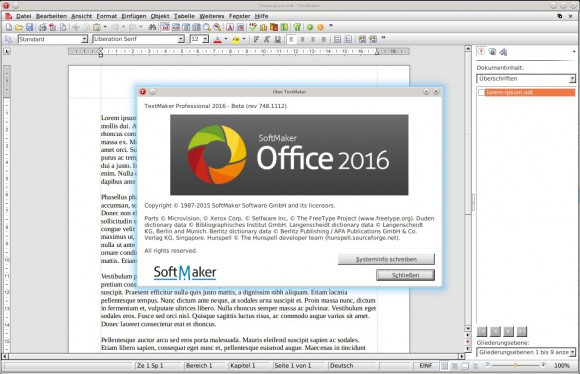 SoftMaker Office 2016 für Linux: TextMaker