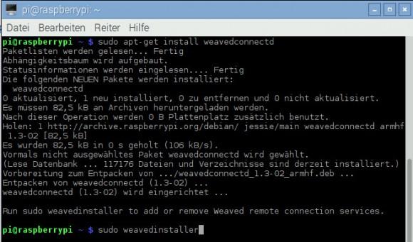 Weaved auf dem Raspberry Pi 2 installieren und konfigurieren