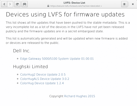 Geräte, die LVFS nutzen (Quelle: gnome.org)