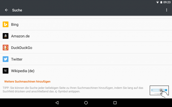 Firefox 44: Die Suche jeder beliebigen Website hinzufügen