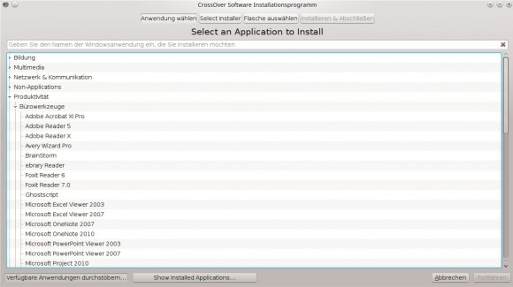 CrossOver 15.0.0: In den Anwendungen stöbern